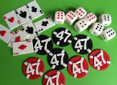 casino cake toppers with age edible assorted casino inspired fondant cupcake toppers poker chips play card cake decorations favors Poker Cake, Cake Decorating With Fondant, Fondant Cupcake Toppers, Gum Paste Flowers, Casino Cakes, Poker Chips, My Etsy Shop, Cake Decorations, Dice
