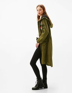 Bershka Spain - Nylon parka with oriental embroidery