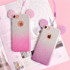 Glitter Minnie Mickey Mouse Ears Soft TPU Case For Samsung Galaxy S7 Edge S6 S5 J5 A5 2016 Case For iPhone 6 6S 7 Plus 5 5S Case