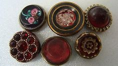 Small antique jewel waistcoat buttons - glass in metal - cranberry, pink, etc.