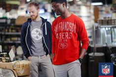 Your team tees will be the perfect wear-with-anything staple in your closet this season. Try layering with a hoodie, like with this Pittsburgh Steelers tee, or keep it simple and straightforward, like with this San Francisco 49ers long sleeve t-shirt!