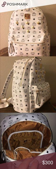 f37457f03c New beautiful white mcm stark backpack White MCM stark backpack. Medium and  brand new.