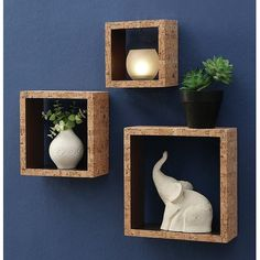 Make your photos, collectibles, plants, and decorations pop with this unique set of three hanging wall cubes, each made of eye-catching cork material. Decor, Wall Shelf Decor, Shelves, Diy Wall Decor, Wall Cubes, Home Decor, Wall Boxes, Cube Shelves, Diy Farmhouse Decor