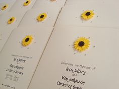 Sunflower Wedding Order of Service Booklets www.ohsopurrfect.co.uk