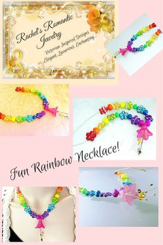 $45 Rainbow colorful necklace for those days when you just need some color in your life! Instant pick me up fun necklace! Visit my shop for more fun necklaces!