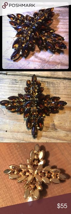 Vintage Large Amber Glass Rhinestone Brooch Stunning Large vintage Amber Glass Rhinestone Brooch. In wonderful condition. Large and heavy. vintage Jewelry Brooches