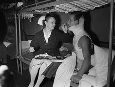 Nurse Feeding Soldier as Patient - - Rights Managed - Stock Photo… Nurse Pics, Nurse Stuff, Vintage Nurse, Vintage Medical, Urbana Ohio, History Of Nursing, Global Conflict, Hello Nurse, Preemies