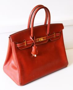 Hermes Satchel in Red.