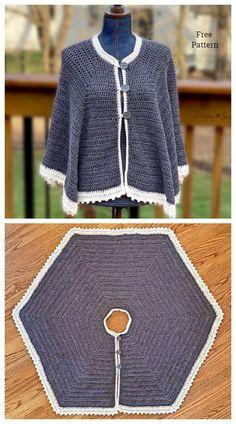 Crochet Shrug Pattern Free, Crochet Poncho Patterns, Crochet Shawls And Wraps, Free Crochet, Crochet Cardigan, Knit Or Crochet, Easy Crochet, Free Pattern, Cloak Pattern