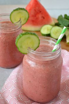 Refresh post-workout or on a hot day with this simple hydrating watermelon cucumber smoothie. The addition of coconut water, lime juice and fresh mint will transport you to a tropical destination.