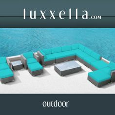 Modern Outdoor Patio Furniture Wicker Bella 15 PIECE TURQUOISE All Weather Furniture #patiofurniture #wickerfurniture #Outdoorwicker