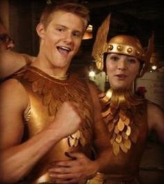 The Hunger Games behind the scenes Cato and Clove in their district outfits.