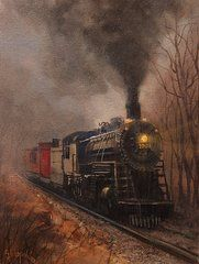 Locomotive Paintings - Morning Mist Soo Line 1003 by Tom Shropshire
