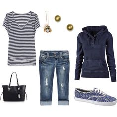 With blue or white chucks.minus the purse and jewelry Classy Outfits, New Outfits, Summer Outfits, Cute Outfits, Classy Clothes, Casual Outfits, White Chucks, What Should I Wear, The Help