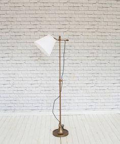 Brass finish adjustable floor lamp with shade – White Elephant Trading Company