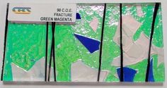 CBS Specialty Green Magenta White Blue Fracture 90 COE Clear Dichroic Glass #CBS