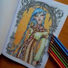 """Páči sa mi to: 197, komentáre: 20 – Stanka (@stanislava007) na Instagrame: """"Mystical Beauty from Colouring Heaven special. Line art by Zan Von Zed. Coloured by Faber-Castell…"""""""