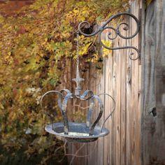 Crown Shaped Bird Feeder with Scroll Wall Bracket. Vintage Distressed Metal