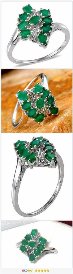 50% OFF #EBAY http://stores.ebay.com/JEWELRY-AND-GIFTS-BY-ALICE-AND-ANN  Natural Emerald Cluster Ring 2.00 carats size 9