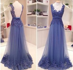 2016 Lace Applique Backless Prom Dresses A-line V neck Sash Bow Formal Evening Gowns