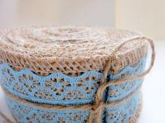 Blue Lace  Jute Burlap Ribbon 1 Meter