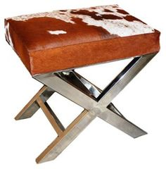 """Peter 23"""" Hide X-Bench, Brown/White - office"""