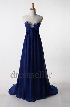 Custom Dark Royal Blue Long Beaded Prom Dresses New by Tinadress