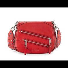 Marc Jacobs Studded Red Saddle Crossbody Bag