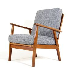 Retro-Vintage-Danish-Modern-Solid-Teak-Lounge-Easy-Chair-Armchair-Wool-60s-70s