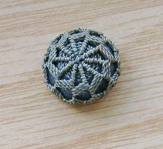 Antique Blue Crochet Lace Silk Threadback Button by SewingVineyard