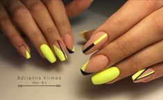 Want some ideas for wedding nail polish designs? This article is a collection of our favorite nail polish designs for your special day. Neon Nails, Diy Nails, Swag Nails, Neon Yellow Nails, Neon Nail Art, Yellow Nails Design, Geometric Nail Art, Nail Manicure, Summer Acrylic Nails
