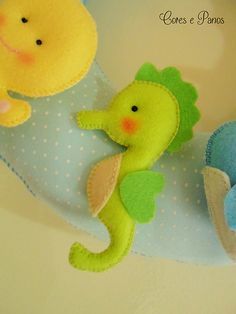 baby seahorse in felt, nice idea for a baby card