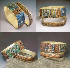 Liz Hall polymer clay and brass bracelet / bangle with faux techniques. LOVE LOVE LOVE! Love the colors, the design, everything!