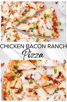 This Chicken Bacon Ranch Pizza is simple to make and full of flavor! Loaded with succulent chicken, smokey bacon, melty cheese and dreamy creamy ranch. Chicken Bacon Ranch Pizza, Chicken Pizza Recipes, Bacon Pizza, Ranch Chicken, Pizza Pizza, Chicken Meals, Pizza Dough, Flatbread Pizza Recipes, Chicken Flatbread