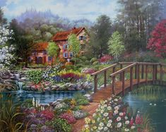 ART~ A Precious House And Picturesque Bridge To Cross Over To, And Fall In Love In~  Andres Orpinas.