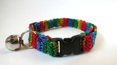 Adjustable Cat Collar Rainbow with Bell by BrumbysYarns on Etsy, $10.00