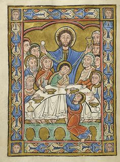 """Whoever is ashamed of me and of my words in this faithless and sinful generation, the Son of Man will be ashamed of when he comes in his Father's glory with the holy angels."" Mark 8:38 // Jesus Christ: Last Supper // Vita Christi (Life of Christ)// France, perhaps Corbie, ca. 1175 // MS M.44 fol. 6v // © The Morgan Library & Museum // #Eucharist"