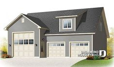 Discover the plan - Cottonwood 2 from the Drummond House Plans garage collection. RV garage plan with garage, or three-car garage plan, with bonus room on second floor. Total living area of 2154 sqft.