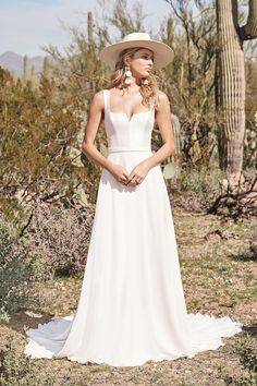 Style 66152: A-Line Gown with Notched Square Neckline and Square Back | Lillian West Lillian West, Allure Bridal, Wedding Dress Shopping, Boho Wedding Dress, Dream Wedding Dresses, Chiffon Rock, Chiffon Skirt, Justin Alexander Signature, Wedding Dress Necklines