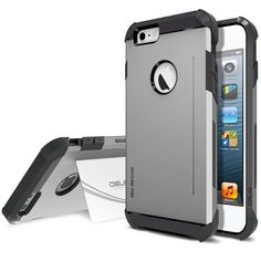 Fast & Free Shipping when item is released! Don't wait until sold out! iPhone 6 Plus (5.5) Case Card Kickstand Gun Metal Armor Slim Fit Hard Dual Layer #Obliq