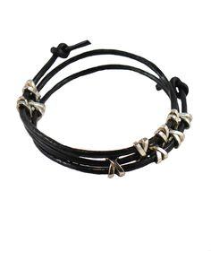 Black Leather Silver Crosses Adjustable Wristband - Forziani