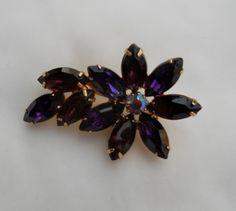 Purple Maroon Floral 1950s Rhinestone Brooch Pin. $18.00, via FamilyJewelsNYC.etsy.com #vintage