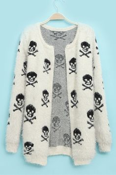 Skeleton Applique Mohair Sweater