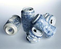Drinking Tea  (Ceramic cans) by Lei Xue    These are too perfect! I want a set (or six) for various places outside and in.