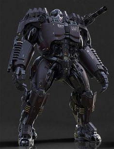 "sciencefictionworld: "" ""Exoskeleton Heavy Elite"" by Christophe LACAUX. Futuristic Armour, Futuristic Art, Robot Concept Art, Armor Concept, Armadura Ninja, Rpg Cyberpunk, Zed League Of Legends, Space Opera, Graffiti Pictures"