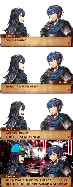 I hate Lucina but Marths face at the end is priceless, he looks so tired of her crap