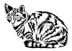 katze tattoo: Cat in Vektor