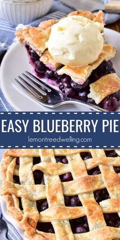 This Easy Blueberry Pie is one of our favorite summer desserts! It's simple to make, with just a handful of ingredients, and packed with the sweet taste of fresh blueberries. This pie is perfect for summer picnics or parties, and it comes together in no Mini Desserts, Easy Desserts, Delicious Desserts, Dessert Recipes, Fresh Blueberry Pie, Blueberry Pie Recipes, Blueberry Desserts, Homemade Blueberry Pie, Blueberry Cobbler