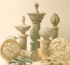 Curtain pole finials in shabby chic paint finishes from Advent Designs. Available from Catherine Lepreux Interiors. www.catherinelepreux.co.uk