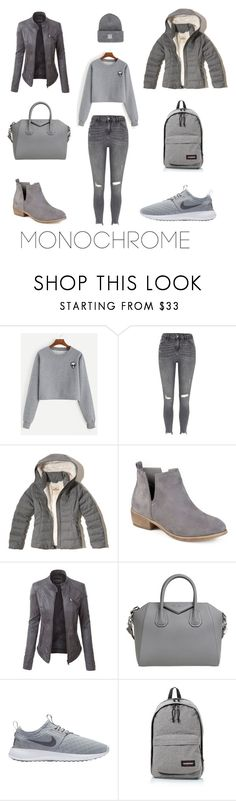 """Fifty shades of grey"" by amela-ella-hodzic ❤ liked on Polyvore featuring River Island, Hollister Co., Journee Collection, LE3NO, Givenchy, NIKE, Eastpak and Herschel Supply Co."